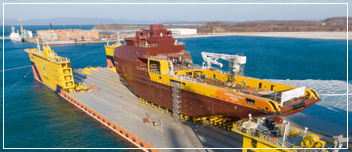 The first multifunctional supply vessel was launched from the slipway at Zvezda Shipbuilding Complex